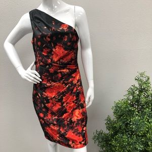 Maggy L One Shoulder Abstract Floral Dress Sz 12